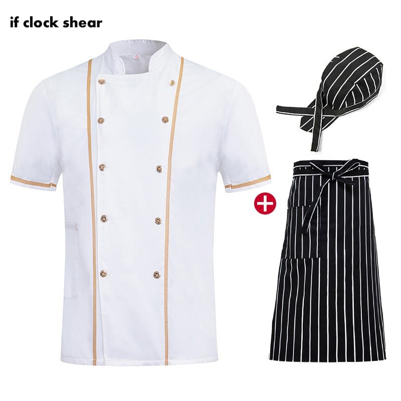 Short Sleeve Unisex Chef Restaurant Uniform High Quality Hotel Kitchen Breathable Thin White Chef Jackets M-4XL Work Clothes Men