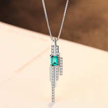 New Hot Emerald Pendant Necklace Jewelry 3mm*4mm 925 Sterling 45cm Box Chain Accessories Girl Friends