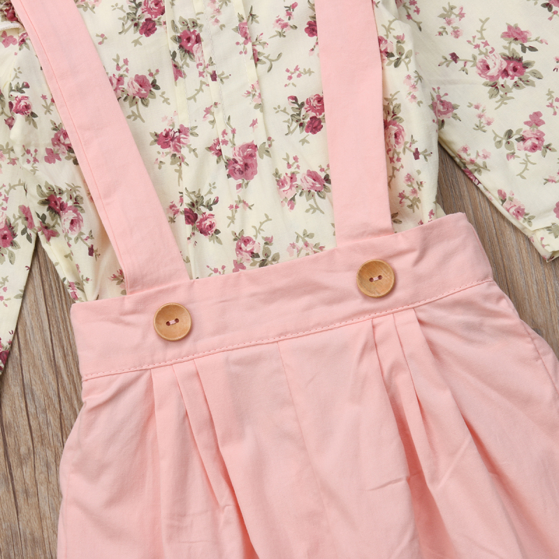 2PCS Toddler Kids Baby Girl Winter Clothes Floral Tops+Pants Overall Outfits sweet girl clothes set 15