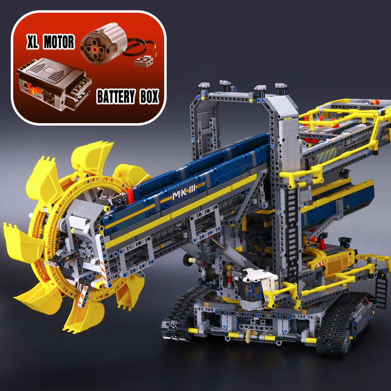 Lepin 20015 3929pcs Technic series Bucket Wheel Excavator Car Model Building Assemble Blocks Brick Toy Compatible 42055 Toy Gift loz smartable technic series red excavator diy building brick blocks toys compatible with legoingly technic car gift toy to kid