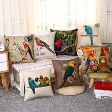 Hot Linen Parrots Living Room and Cushion 400TC Printed Santu Dea 9 Colors 45*45cm OM3012