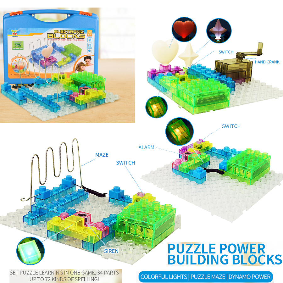 все цены на Electronic Building Blocks 72 Projects Integrated Circuit Blocks learning educational Science Kits toys with plastic handle box