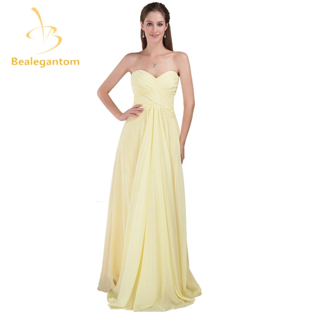 Bealegantom 2019 Sexy jaune longues robes de bal perlée en mousseline de soie robes de soirée Vestido Longo QA1009
