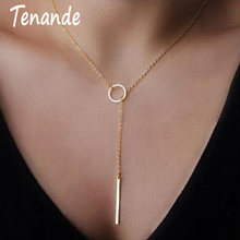 Tenanda colares e pingentes femininos, venda quente de camisola longa, cor dourada, listras pequenas, colares e pingentes para mulheres