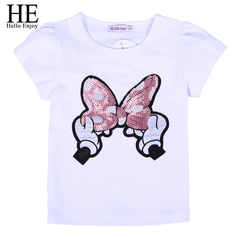 HE Hello Enjoy Girls Short Sleeve Tops Tees Chidlren Summer Cartoon Print Parkour Kids T-shirt For Boys Fashion Girls 2-6Years