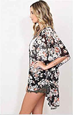 Ethinc נשים קיץ חולצה בציר פרחוני הדפסת חולצות מקרית Hippie Boho קימונו קרדיגן גבירותיי ארוך Blusas חולצות