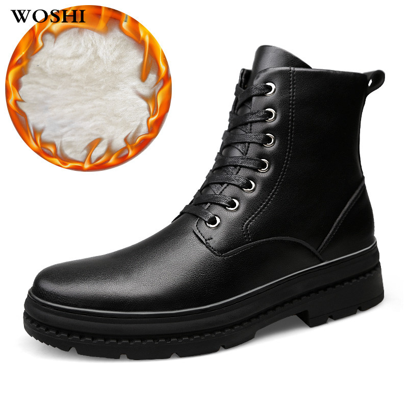 Winter Genuine leather snow boots for men winter boots with fur keep warm snow boots men waterproof Lace-Up Military shoes k3 mvvt super warm winter men boots snow boots with fur keep warm platform men winter snow shoes waterproof ankle boots