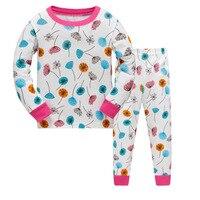 New Kids Girls Autumn Pajamas Sets Cartoon Sleepwear Leaves Print Long Sleeve Nightwear Sets Children Pyjamas