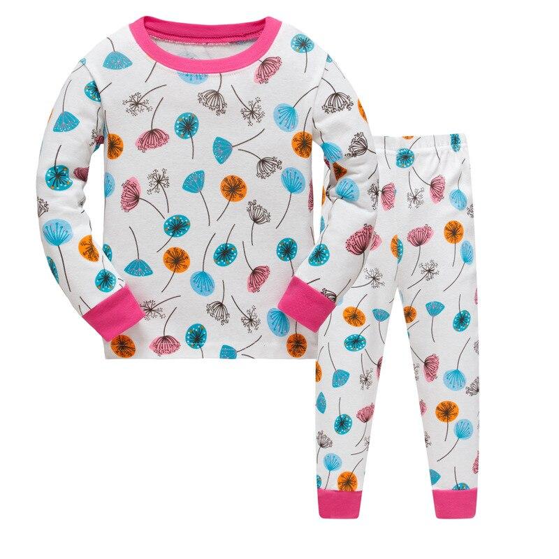New kids Girls Autumn Pajamas Sets cartoon sleepwear Leaves print Long Sleeve nightwear Sets children Pyjamas Christmas gift