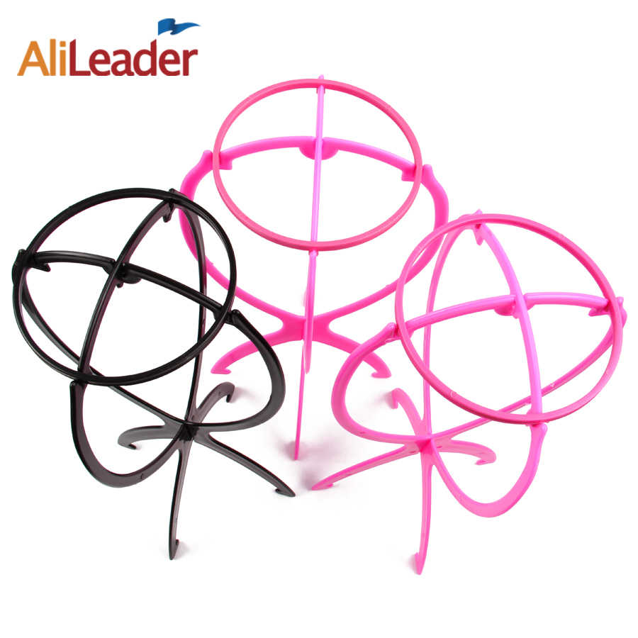 Free Shipping 1PC New Folding Plastic Stable Durable Wig Hair Hat Cap Holder Stand Display Tool Huge Stocks Black/Pink Wigstand