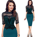 Fashion women sexy lace patchwork short-sleeve dress slim pencil dressplus size S-5XL Free Shipping