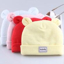 Хлопковая шапочка для младенца, шапочки, зимние шапки для новорожденных мальчиков и девочек, плотная шапка с ушками