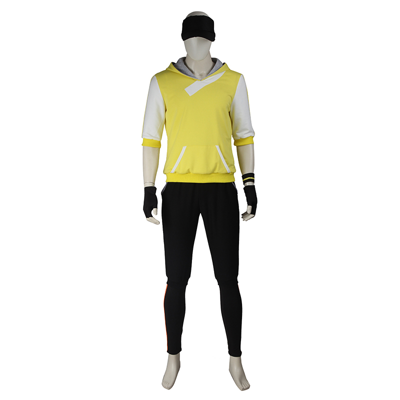 Pocket Monster Trainer Yellow Hoodie Hooded Suit Pokemon Go Team Cosplay Costume Male pokemon oras team aqua admin shelly cosplay costume acgcosplay
