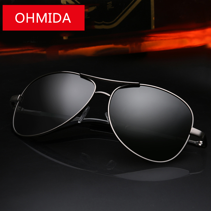 OHMIDA New Fashion Brand Aviator Sunglasses Men Polarized Pilot Black Metal Sunglasses Driving Sport Mirror font
