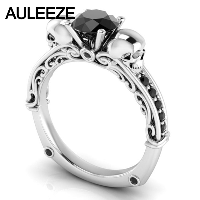 Filigree Wedding Band 10k White Gold Engagement Ring Natural Black Agate Scrollwork Double Skull