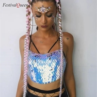 Festival Queen Sexy Halter Scales Sequin Crop Top Women Beach Backless Nightclub Party High Quality Boho Handcrafted Short Tops