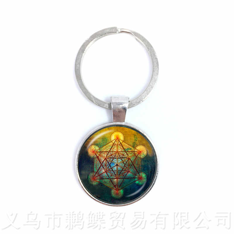 Supernatural Pentagram Keychain Glass Cabochon Wicca Pagan Gothic Pentagram Pentacle Star Crystal Pendant Five Pointed Star
