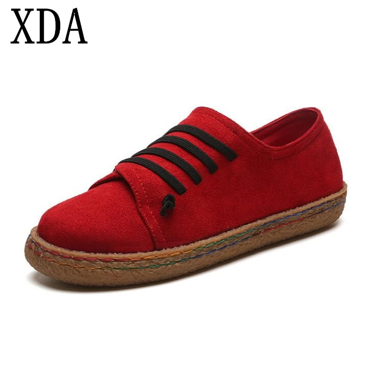 XDA 2019 Spring Causal Flat Women Single Shoes Lace-Up Soft face Canvas Shoes Comfort Shallow Mouth Student LoafersXDA 2019 Spring Causal Flat Women Single Shoes Lace-Up Soft face Canvas Shoes Comfort Shallow Mouth Student Loafers