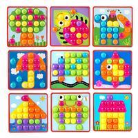 Renkli 3D Bulmacalar Çocuk Oyuncak Mozaik Kompozit Resim Düğmeleri Mantar Çivi Kiti Bebek Aydınlanma Eğitici Oyuncak Montaj
