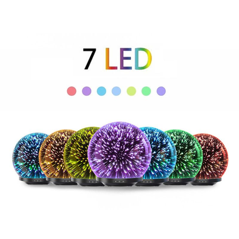 3d Glass Firework Night Light Ball Ultrasonic Essential Oil Diffuser Aroma Aromatherapy Fine Fog Humidifier Anti Slip Base Room