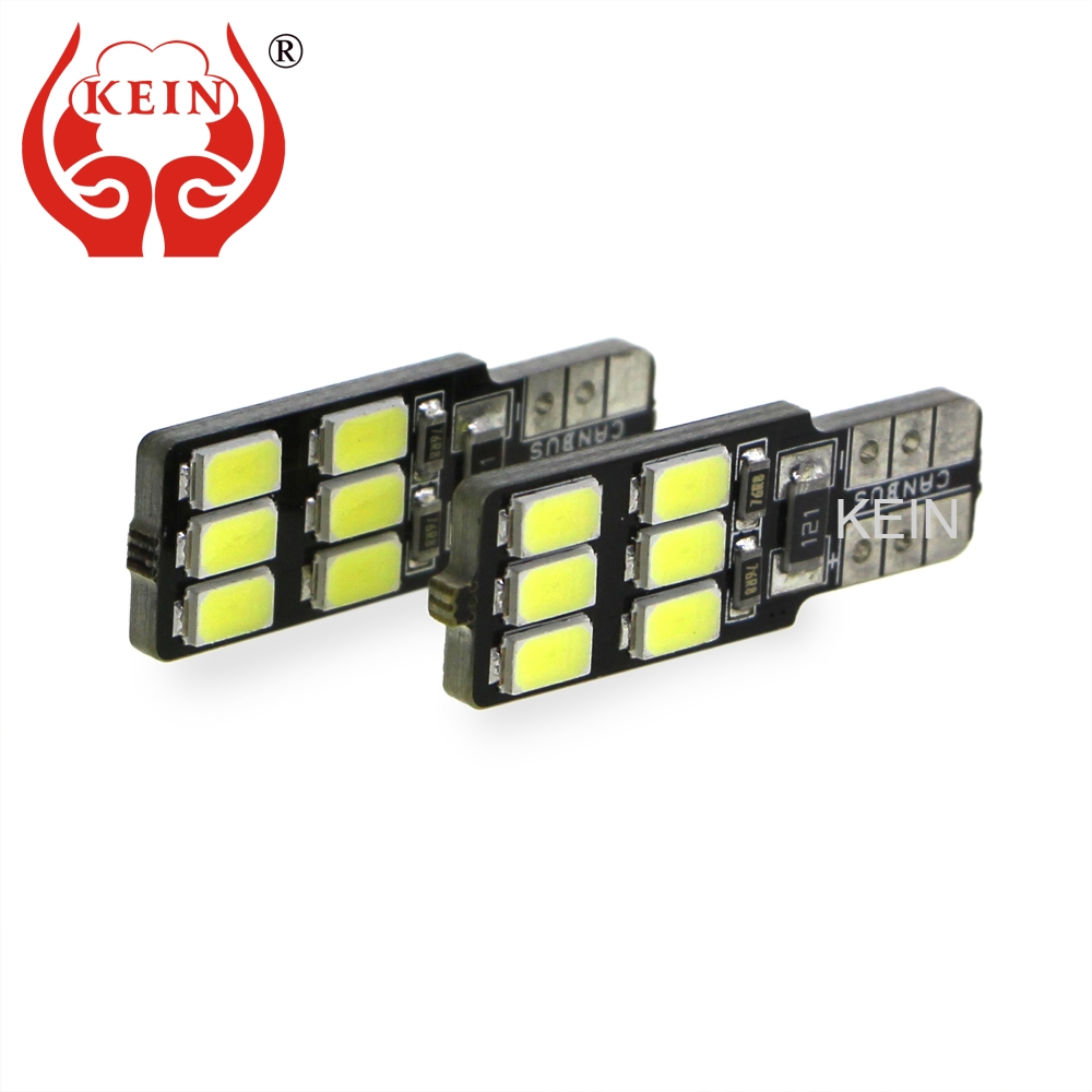 KEIN 2PCS Canbus Error Free Car LED T10 W5W 194 12smd Side Wedge Light Parking Signal Lamp Interior Trunk Vanity Mirror Bulb 12V 2pcs t10 canbus error free car license plate lights 9 smd led light bulbs 194 w5w auto wedge panel interior light