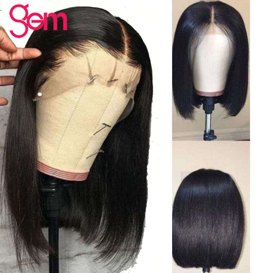 Short Blunt Cut Bob Wig Straight Lace Front Human Hair