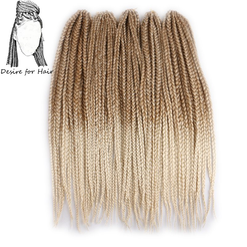 10packs 24inch 110g 12strands per pack heat resistant synthetic crochet braided box braids hair ombre 27 and 613 color