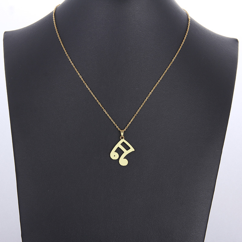 Cacana Stainless Steel Necklace Musical Notes Gold And Silver IMG_5961