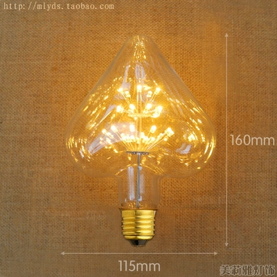 LED Lampada Edison Bulb Lamp Light Bombillas Vintage Retro Lamps Ampoules Decoratives 2W E27 220V For Decor Heart Star Shape