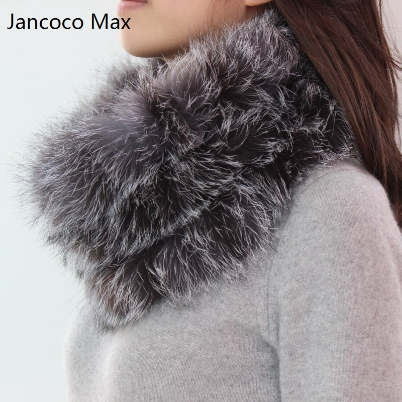Jancoco Max 2018 New Spring Real Sliver Fox Fur Scarf Soft Warm Women Scarf Collar S1514