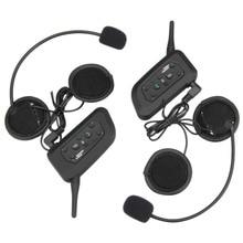 2016 ¡ Nuevo! 2 unids V6 Intercomunicador Del Casco 6 Jinetes 1200 M Bluetooth de La Motocicleta Intercom Headset walkie talkie Casco BT Interfono
