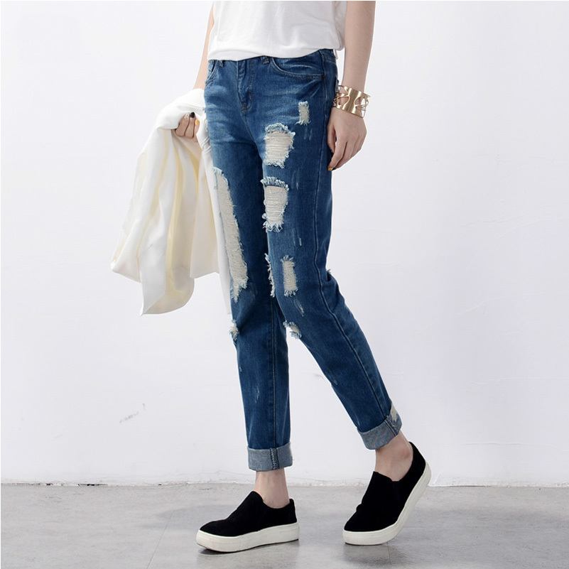 Hot sale Women's ripped jeans Fashion boyfriend jeans for woman Loose hole  denim pants Free shipping - Online Buy Wholesale Ripping Jeans From China Ripping Jeans