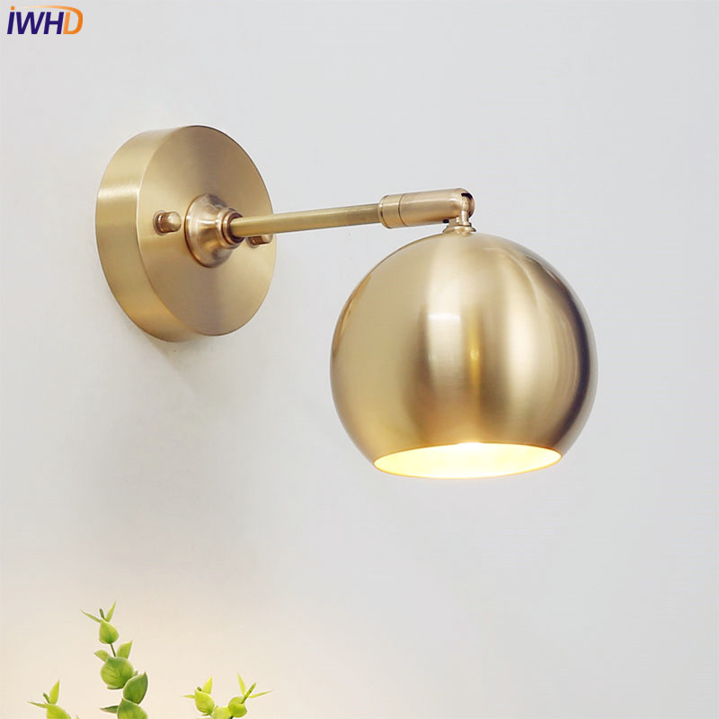 IWHD Post-Modern Copper Wall Lamp Beside Bedroom Bathroom Mirror Light LED Vintage Wall Lights Home Lighting Luminaire led wall lamps modern spot lighting luminaire bathroom light led wall lights mirror lamp bedroom wall light
