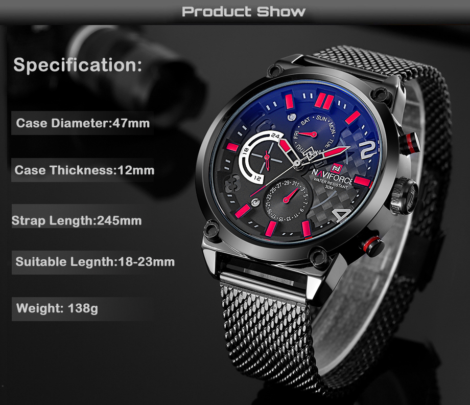 NAVIFORCE Luxury Brand Fashion Casual Watches Mens Full Stainless Watch Mesh Band Business Men Hour Quartz Wristwatch Male Clock