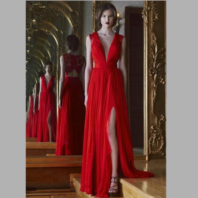 43db3dd32e05 2015 charme con scollo a v abito da sera lungo rosso con spacco alto pizzo  indietro donne lungo vestito da sera convenzionale del vestito vestido de  festa ...