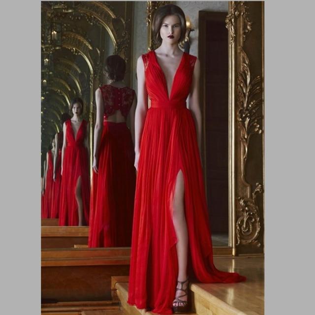 1ca20a9093ee 2015 charme con scollo a v abito da sera lungo rosso con spacco alto pizzo  indietro donne