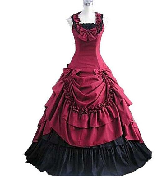 Costumes d'halloween pour femmes adulte sud belle costume rouge robe victorienne robe de bal gothique lolita robe grande taille personnalisé