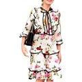 Дизайнер Взлетно-Посадочной Полосы Dress Высокое Качество 2017 Новый Женщины Dress Bee Цветочные Печатный Лук Оборками Повседневная Лето Dress SAD215 Плюс Размер