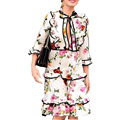 Designer Runway Dress High Quality 2017 New Women Dress  Bee Floral Printed Bow Ruffles Casual Summer Dress SAD215  Plus Size