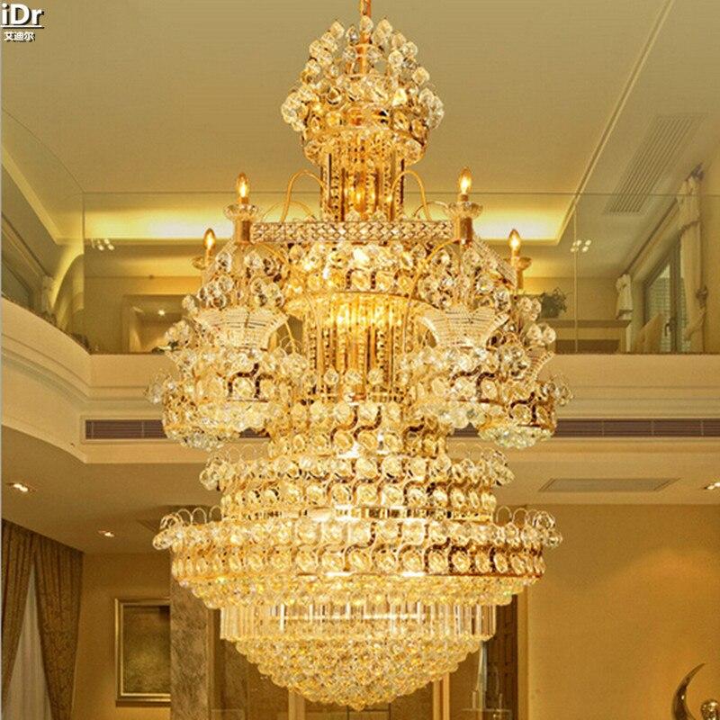 Wohnzimmer Doppeltreppe Halle Kristall Lampe Villa Licht Gelb Scheinwerfer Kronleuchter Lmy 016China