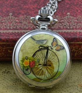 retro new silver cute colorful high wheel fashion women pocket watch necklace ho