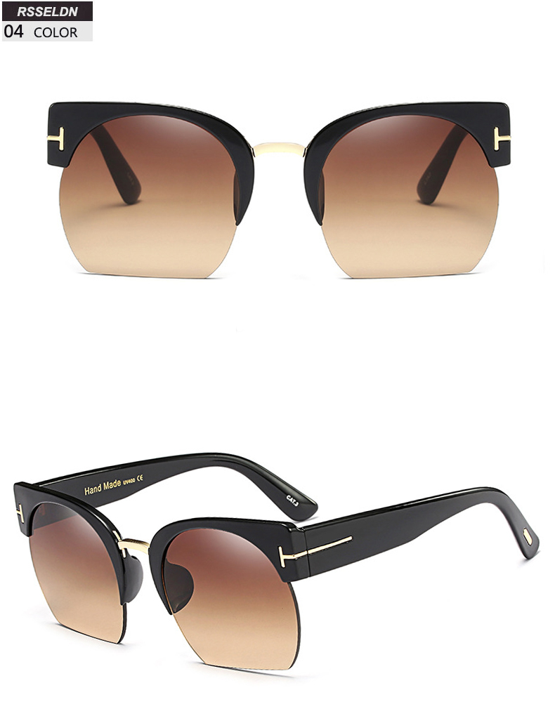 HTB105FISpXXXXc5aXXXq6xXFXXXW - RSSELDN Newest Semi-Rimless Sunglasses Women Brand Designer Clear Lens Sun Glasses For Women Fashion Sunglass Vintage oculos