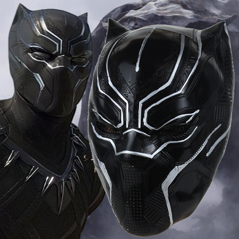 New 3D Black Panther Mask Cosplay Black Panther Fantastic Four Costume Accessory Latex Helmet Carnival Halloween Party Dropship