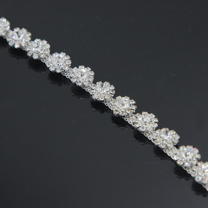 10Yards Silver Golden Flower Shining Rhinestone Strass Chain Sewing Accessories For Clothing Wedding Dress Applique