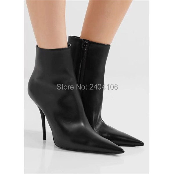 Botas Mujer 2017 Designer Shoes Woman Sexy Pointed Toe High Heels Leather Booties Side Zipper Black White Red Ankle Boots Women 2017 ohwhat s ladies shoes woman solid pointed toe leather winter womens booties zapatos mujer botas high heel boots