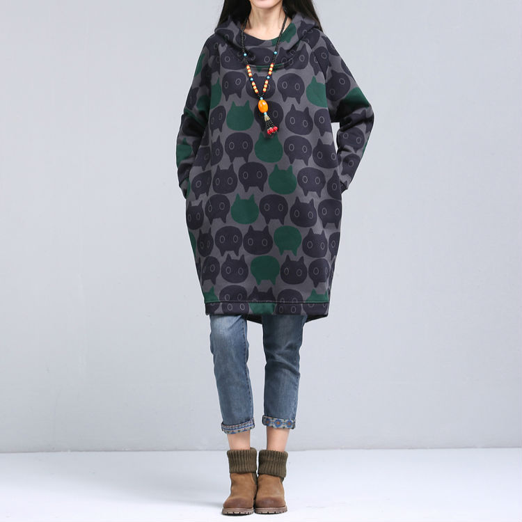 0cd9a8e1127 2017 Women Plus Size Oversized Hoodie Vintage Cat Printed Long Hoodies  Winter Thick Warm Hooded Long