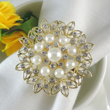 10PCS napkin ring pearl meal buckle silver plated diamond