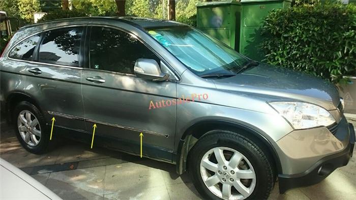 Steel Bright Door Body Molding Streamer Cover Trim 4pcs For Honda CRV CR-V 2007-2011 2008 2009 2010