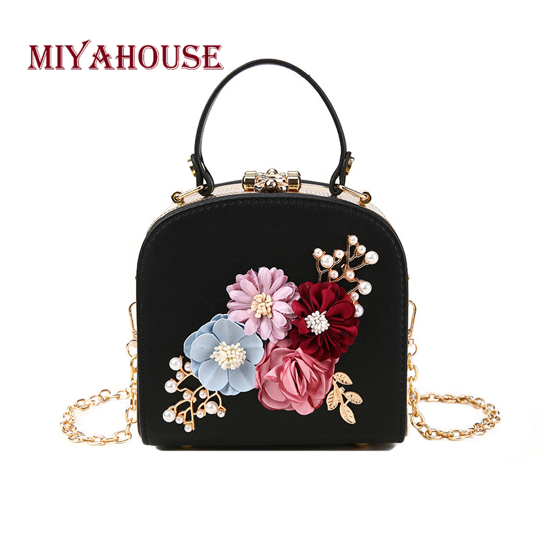 Miyahouse Classical Floral Design Shoulder Bag For Female PU Leather Women Crossbody Messenger Bag With ChainMiyahouse Classical Floral Design Shoulder Bag For Female PU Leather Women Crossbody Messenger Bag With Chain
