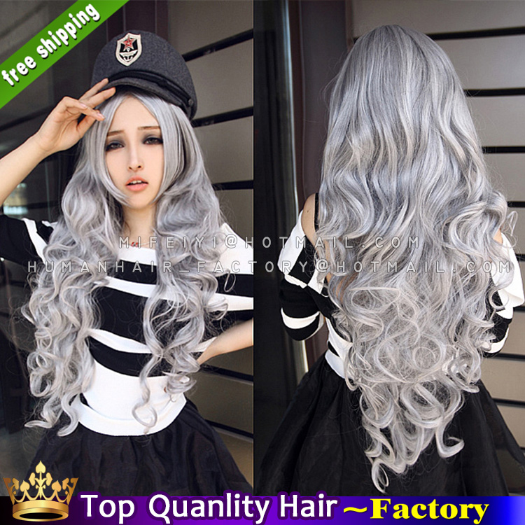 Grey Weave Hair Womens 32 Inches Long Wavy Full Wigs Curly Fake
